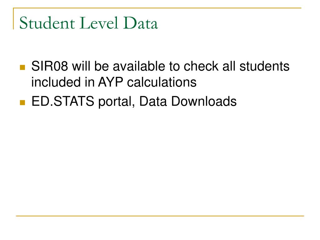 Student Level Data