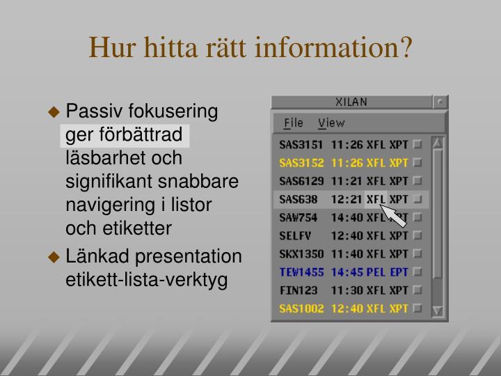 Hur hitta rätt information?