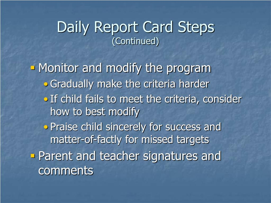 Daily Report Card Steps