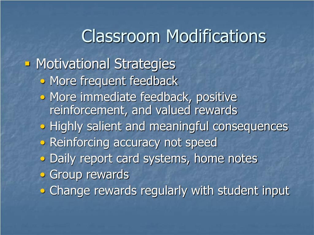 Classroom Modifications