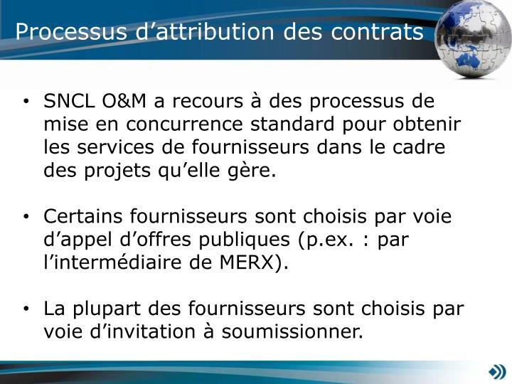 Processus d'attribution des contrats