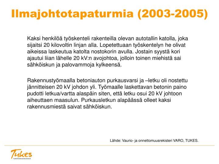 Ilmajohtotapaturmia (2003-2005)