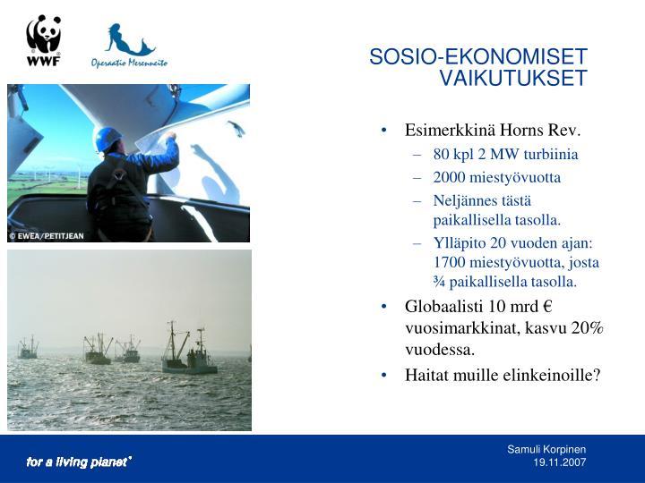 SOSIO-EKONOMISET VAIKUTUKSET