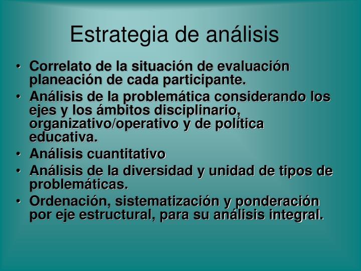 Estrategia de análisis