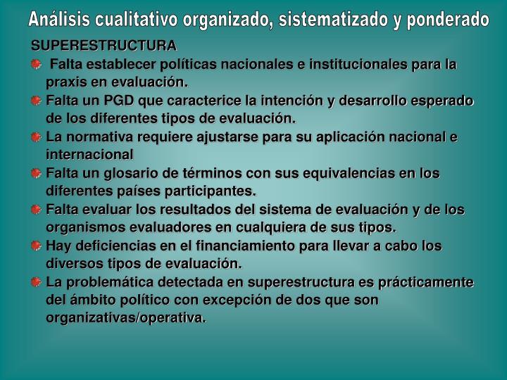Análisis cualitativo organizado, sistematizado y ponderado