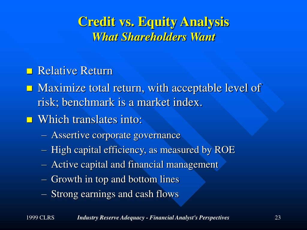 Credit vs. Equity Analysis