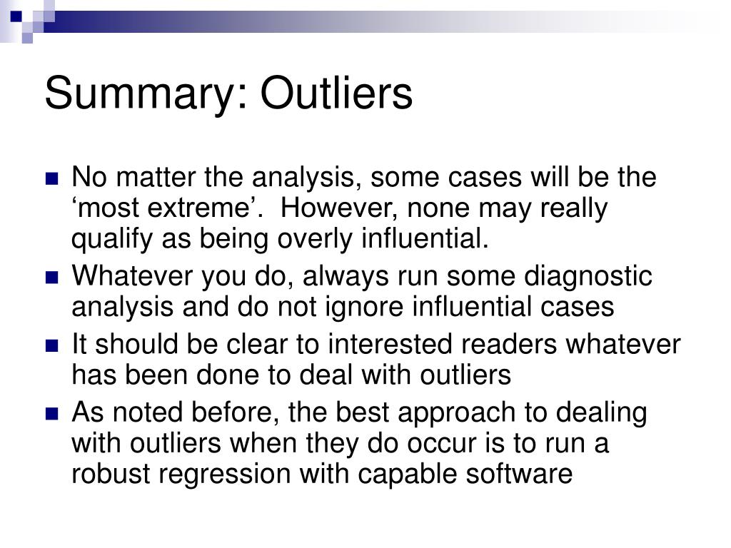 Summary: Outliers