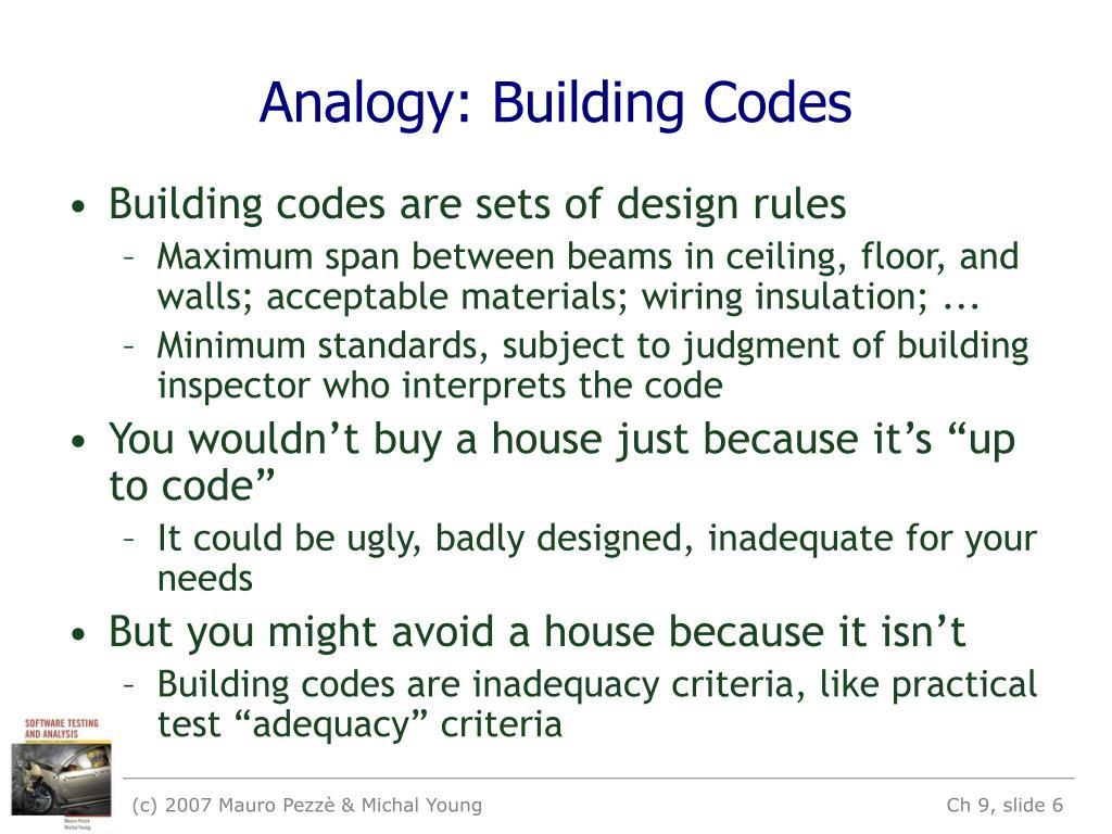 Analogy: Building Codes
