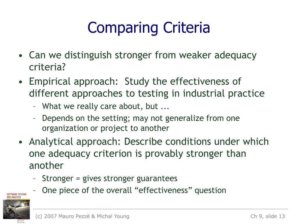 Comparing Criteria