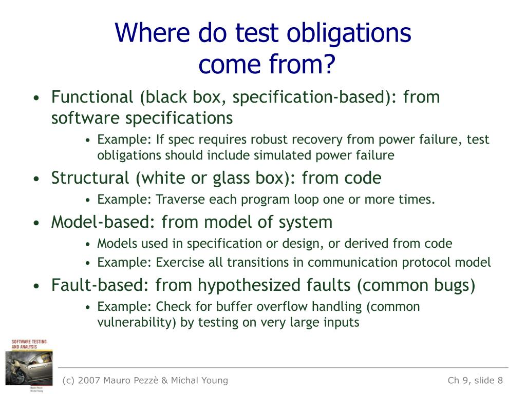 Where do test obligations