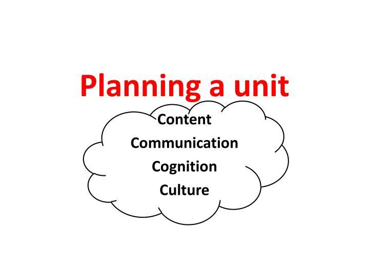 Planning a unit