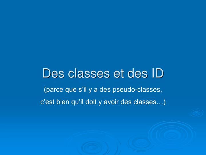 Des classes et des ID