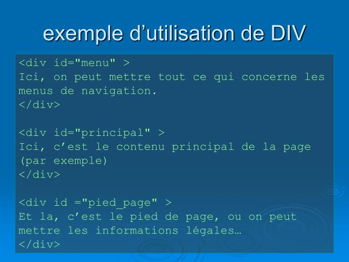 exemple d'utilisation de DIV