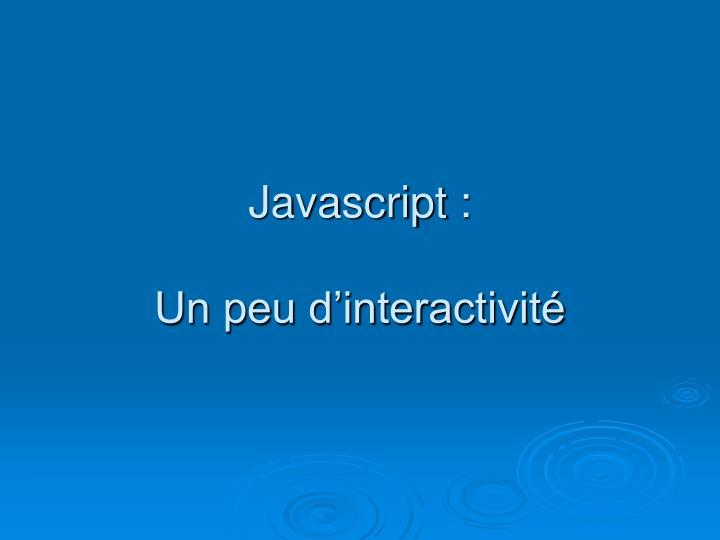 Javascript :