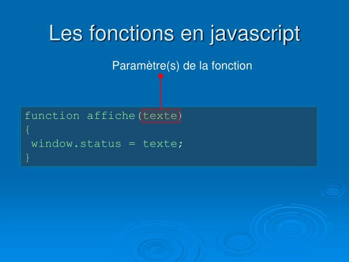 Les fonctions en javascript