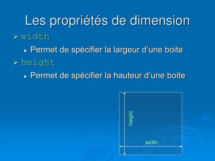 Les propriétés de dimension