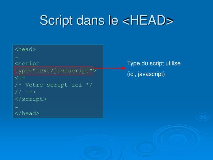Script dans le <HEAD>
