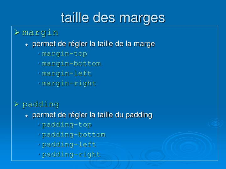 taille des marges