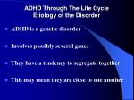 adhd through the life cycle etiology of the disorder