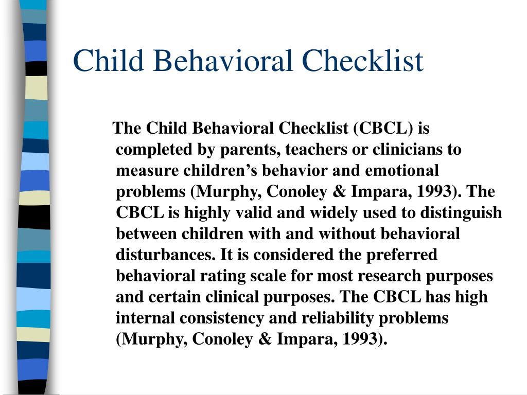 Child Behavioral Checklist