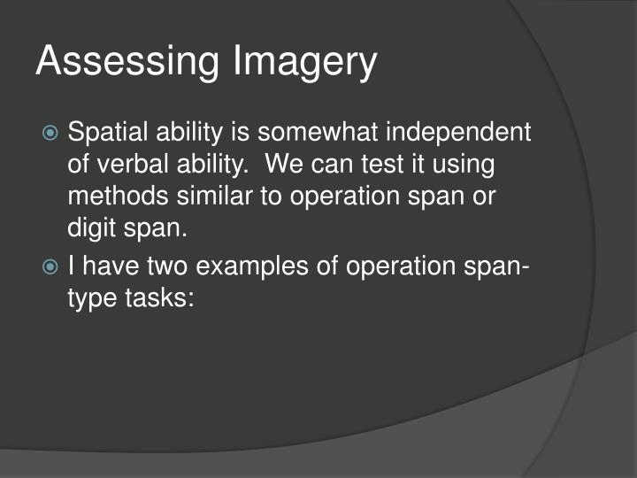 Assessing Imagery