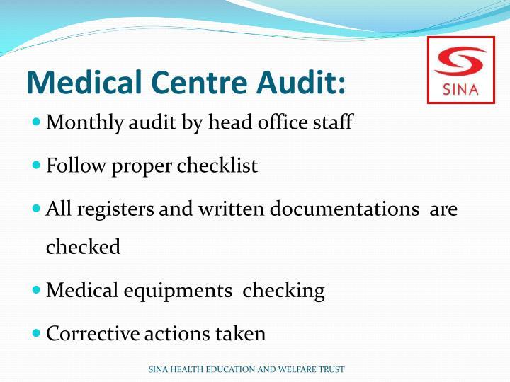 Medical Centre Audit: