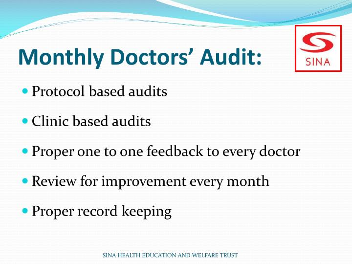 Monthly Doctors' Audit: