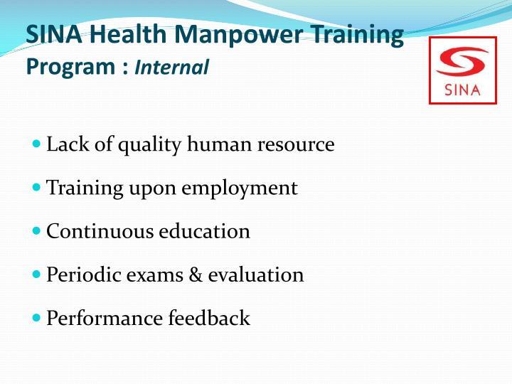 SINA Health Manpower Training