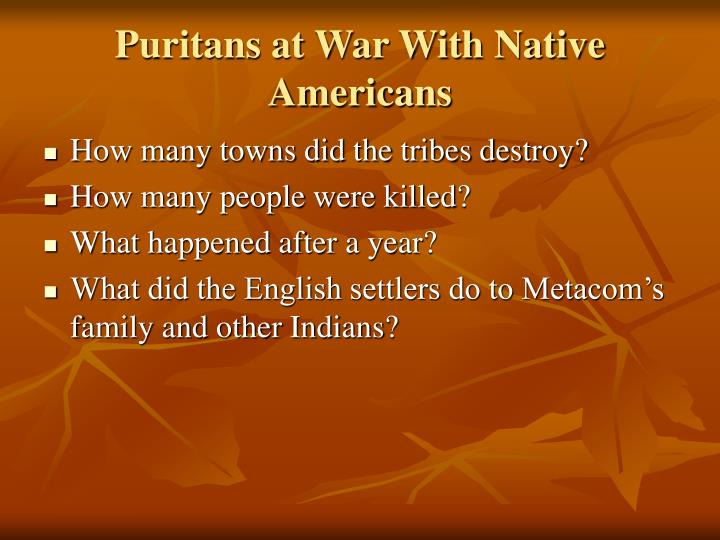 Puritans at War With Native Americans
