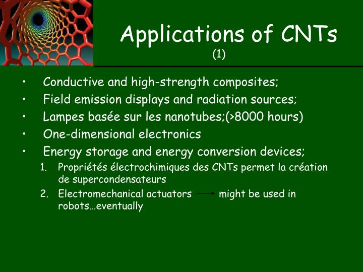 Applications of CNTs