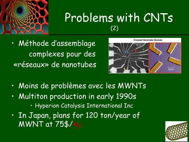 Problems with CNTs