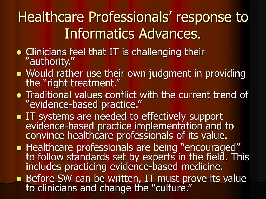 Healthcare Professionals' response to Informatics Advances.