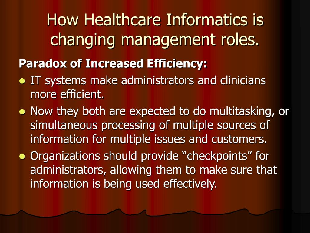 How Healthcare Informatics is changing management roles.