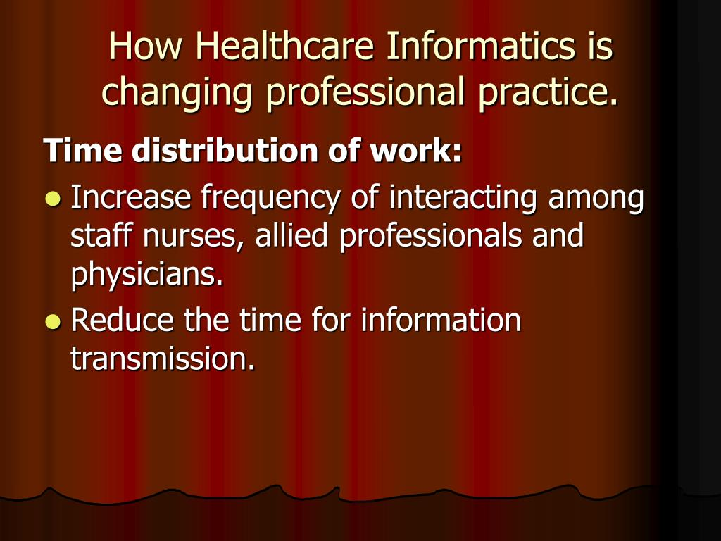 How Healthcare Informatics is changing professional practice.