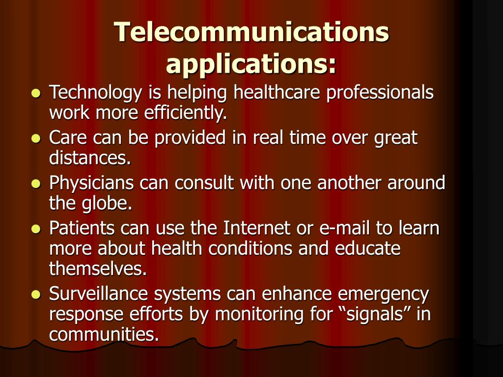 Telecommunications applications: