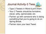 journal activity 3 tweets