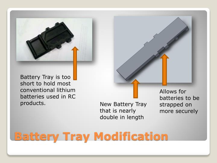 Battery Tray is too short to hold most conventional lithium  batteries used in RC products.