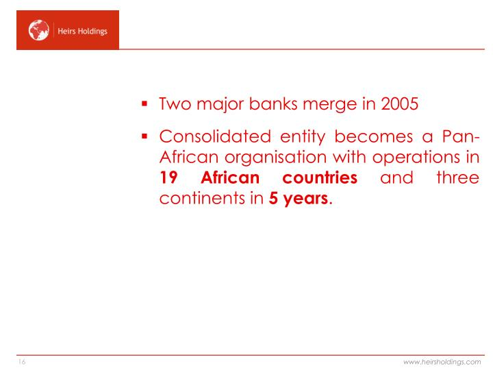 Two major banks merge in 2005