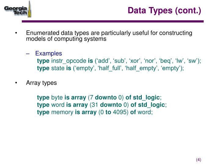 Data Types (cont.)