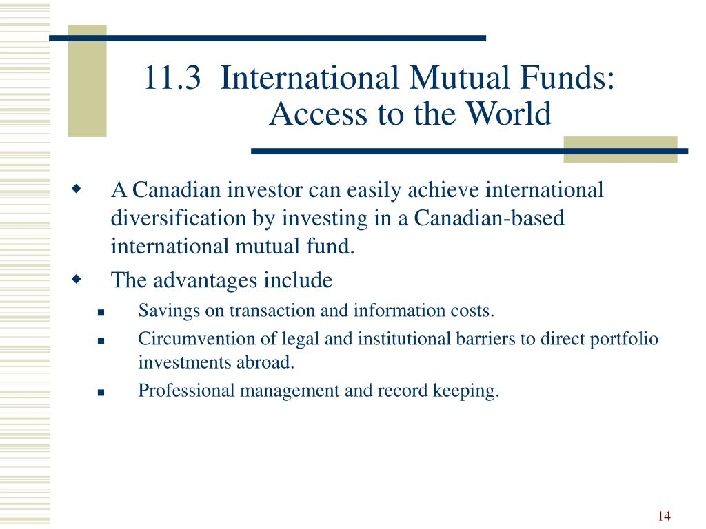 11.3  International Mutual Funds: Access to the World