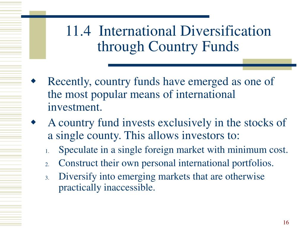 11.4  International Diversification through Country Funds