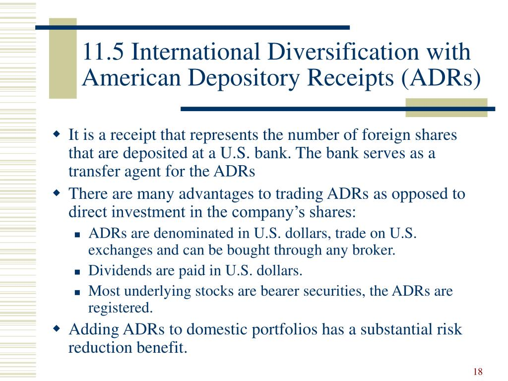 11.5 International Diversification with American Depository Receipts (ADRs)