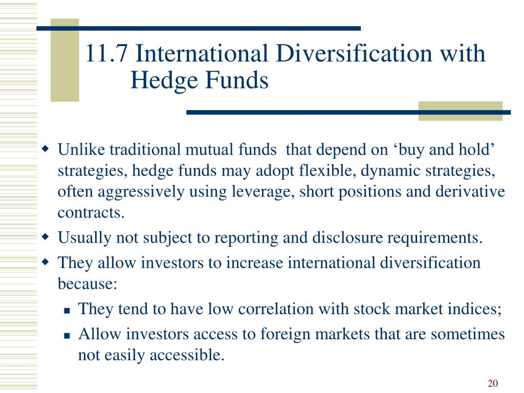 11.7 International Diversification with Hedge Funds