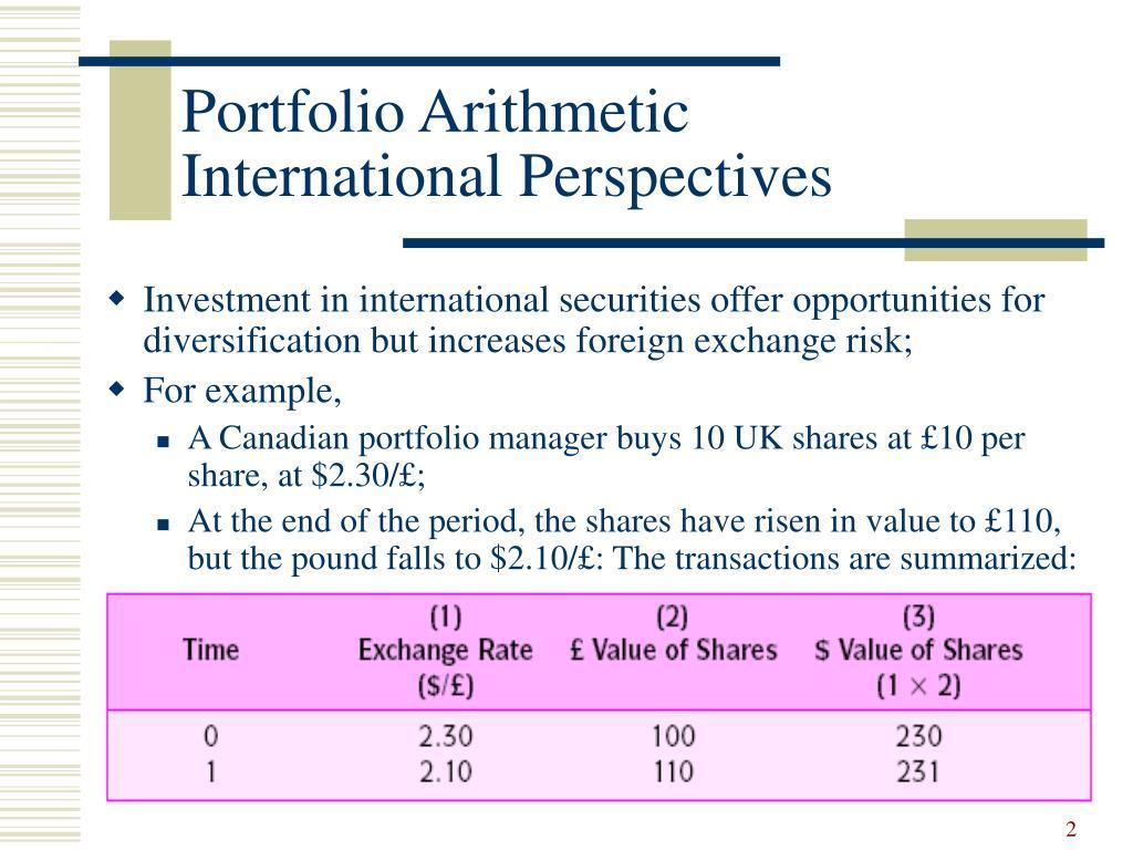 Portfolio Arithmetic