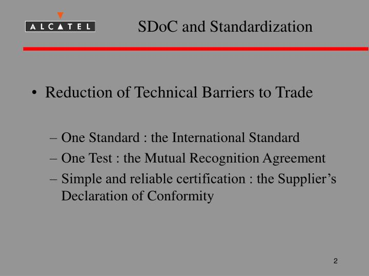 SDoC and Standardization