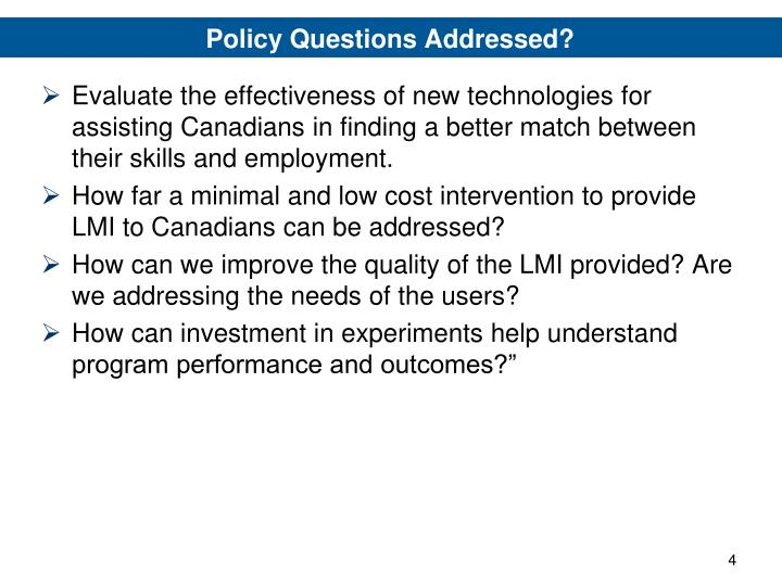Policy Questions Addressed?