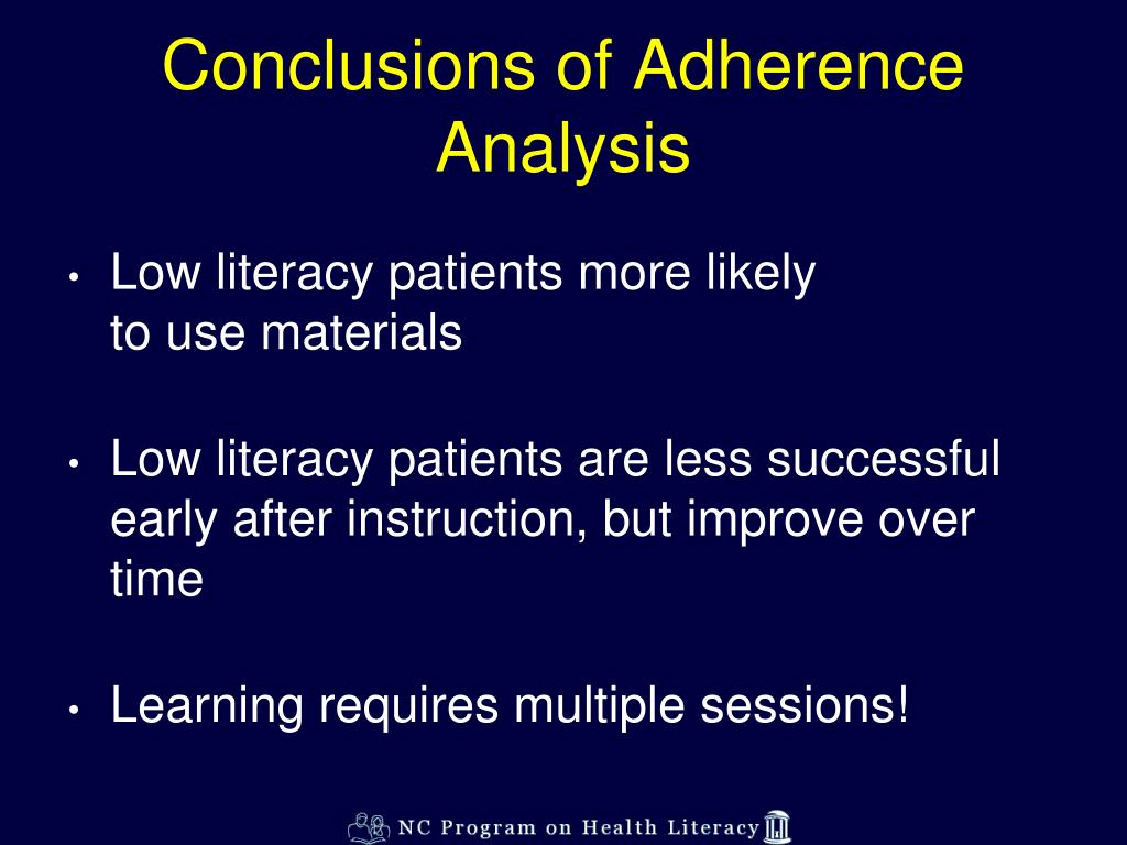 Conclusions of Adherence Analysis