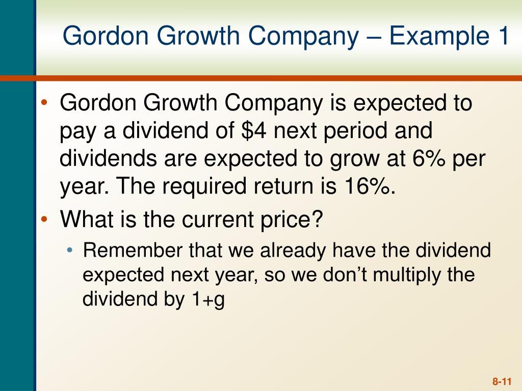 Gordon Growth Company – Example 1