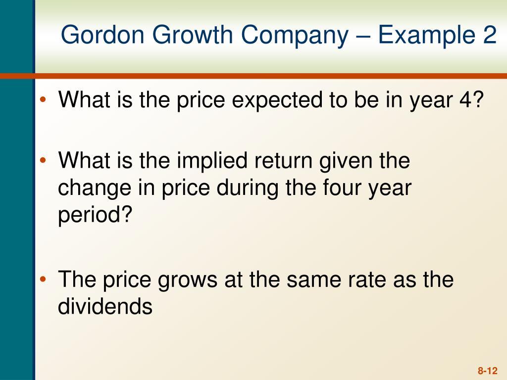 Gordon Growth Company – Example 2