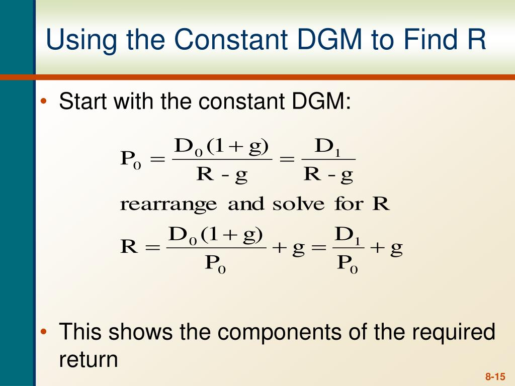 Using the Constant DGM to Find R